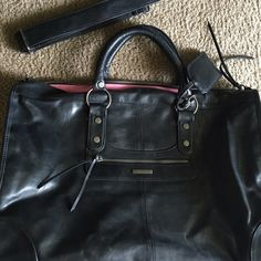 Pleather Weekender Bag Used once! Comes with long strap. Victoria's Secret Bags Travel Bags