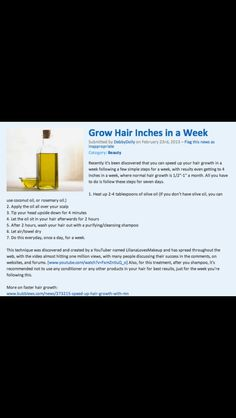 awesome Grow Hair Inches in a Week Natural Hair Care, Natural Hair Styles, Ways To Grow Hair, How To Grow Hair Faster, Hair Inches, Hair Growth Tips, Hair Tips, Hair Ideas, Hair Remedies