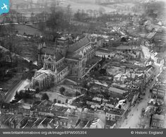 epw005304 ENGLAND (1921). St Albans Cathedral, St Albans, 1921 | Britain From Above Temple Bar, St Albans, Barnet, Ancestry, Britain, Cathedral, England, History, Places