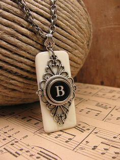 Piano Key Jewelry - Synthetic Ivory Piano Keytop with Black Initial B Typewriter Key Pendant Necklace