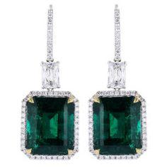 Striking 18.83ctw Colombian Emerald Earrings