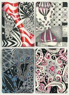 Enthusiastic Artist: Eye candy! #Zentangle ATC swap ~ #CertifiedZentangleTeacher Margaret Bremner