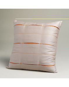 Jaclyn Smith Orange Chain Links Square Pleated Decorative Pillow