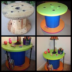 Cable Spool up cycled into a side table & book shelf. Painted the dowels black first then splattered paint on them. Added coasters to the bottom. Super fun for my Tweens room!