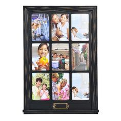 Melannco 9-Opening 4'' x 6'' Window Collage Frame, Black