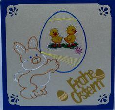 Ostern 05 -  Copyright des Motives: Chrissie  - Doppelkarte mit Umschlag blau im Format 13,5 x 13,5cm