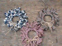 12 Primitive Decor Homespun Mini Rag Wreath Ornaments