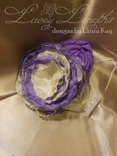 Purple and Ivory Headband by LaceyLengths on Etsy