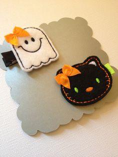 Halloween Hair Clips- Baby Clip,Toddler Clip, Newborn Clip, Halloween. via Etsy.