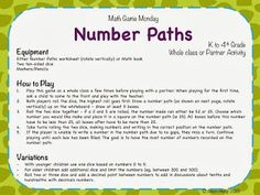 Number Paths - A Math Game Monday Activity - Teaching Maths with Meaning