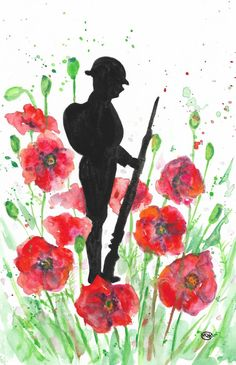 Soldier and poppies. Remembrance Watercolour by MARJAN'S ART View: Soldier and poppies. Remembrance Day Activities, Remembrance Day Poppy, Remembrance Day Drawings, November 11 Remembrance Day, Veterans Day Activities, Art Original, Original Paintings, Soldier Silhouette, Silhouette Art