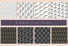 Set of 8 Floral Seamless Patterns_v1 by Calamar on @creativemarket