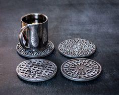 Set of 4 coasters Manhole covers USA by DesignAtelierArticle