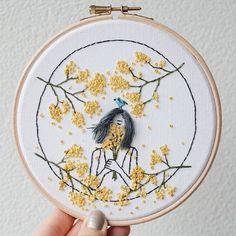 d bordado de ceren kayra hecho a mano * d stickerei von ceren kayra handmade Hand Embroidery Stitches, Modern Embroidery, Embroidery Hoop Art, Hand Embroidery Designs, Embroidery Techniques, Ribbon Embroidery, Cross Stitch Embroidery, Embroidery Ideas, Floral Embroidery