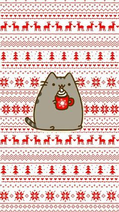 my work❄ #pusheen #christmas #wallpaper #winterpusheen