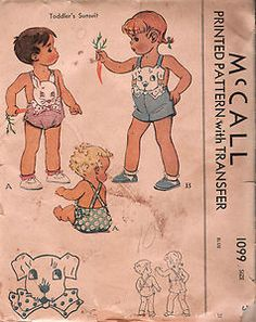 Vintage Toddler Sunsuit Romper Sewing Pattern 40s McCalls 1099 Size 3 Breast 22