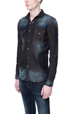 DENIM SHIRT WITH CONTRASTING LINING - Casual - Shirts - Man | ZARA United States