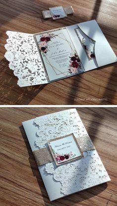 Royal Wedding Invitation, Laser Cut Wedding Invitations, Wedding Cards Handmade, Wedding Venue Decorations, Cute Wedding Ideas, Marie, Our Wedding, Wedding Planning, Cauliflowers