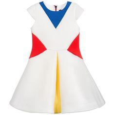 White Neoprene Colour Block Dress, Cesare Paciotti, Girl