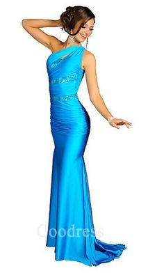 Cute Asymmetric Long Sheath Satin Natural Prom Dresses Sale coodress10449