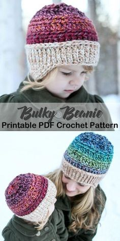 Make a cozy hat with bulky yarn. bulky hat crochet patterns- winter hat crochet … Make a cozy hat with bulky yarn. bulky hat crochet patterns- winter hat crochet …,Winter häkeln Make a cozy. Bonnet Crochet, Crochet Beanie Pattern, Crochet Baby Hats, Crochet Scarves, Crochet Yarn, Easy Crochet, Crochet Patterns, Crochet Hats For Kids, Crocheted Hats