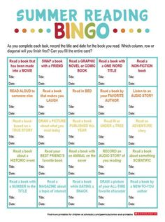 This printable puts a new spin on bingo to encourage your child to keep reading all summer long. Reading Games For Kids, Reading Bingo, Bingo For Kids, Reading Logs, Reading Club, Reading Activities, Guided Reading, Close Reading, Bingo Books
