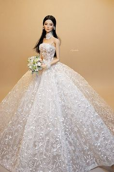 A-Line Wedding Dresses Collections Overview 36 Gorgeou… Barbie Bridal, Barbie Wedding Dress, Wedding Doll, Barbie Gowns, Doll Clothes Barbie, Princess Wedding Dresses, Barbie Dress, Barbie Fashionista, Barbie Style