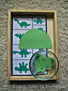 The kiddos will use the shapes provided to make dinosaurs. I've provided a picture guide, if needed to help initiate the creative process. Montesori-inspired dinosaur learning activities and free printables for kids. Dinosaur Theme Preschool, Dinosaur Activities, Dinosaur Art, Preschool Themes, Preschool Math, Toddler Activities, Build A Dinosaur, Learning Activities, 2d Shapes Kindergarten