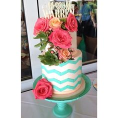 Wedding Cake. Chevron Wedding Cake. Mint and Peach. Sweet. Dessert. #VillageIndulgence @Kerricupcake on Instagram