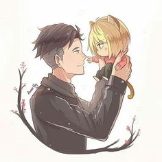 THIS IS TOO CUTE! Little Yurio is adorable! Otayuri is my 2nd favorite ship in the show (Viktuuri being 1st obvs) Creds to the amazing artist awen-ng