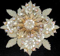 "Stanley Hagler Massive 4"" Glass Flower Hand Beaded Rhinestone PIN | eBay"