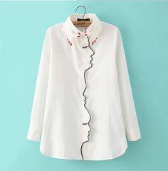 Femme nouveauté 2015 femmes blanc fille visage ligne brodé chemise à manches longues revers boutons mince main col lâche Blouse