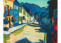 Wassily Kandinsky, Murnau - Obermarkt with Mountains, 1908, oil on cardboard, private collection - fondationbeyeler.ch