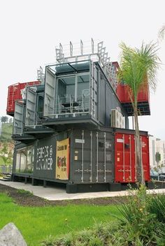 Primary stacked shipping container homes exclusive on neuron home decor Container Shop, Cargo Container, Container House Plans, Container House Design, Shipping Container Conversions, Shipping Container Buildings, Shipping Container Design, Shipping Containers, Container Architecture