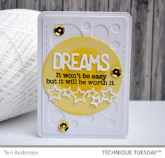 A pocket page-friendly Story Card created with clear stamps and steel dies from TechniqueTuesday.com. Click on the photo for the tutorial on how to make one like it.
