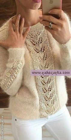 Knitting Patterns Mohair Mohair pullover with beautiful centering . Lace Knitting, Knitting Stitches, Knitting Patterns Free, Crochet Lace Edging, Knit Crochet, Diy Crafts Knitting, Mohair Sweater, Cardigan Pattern, Pulls