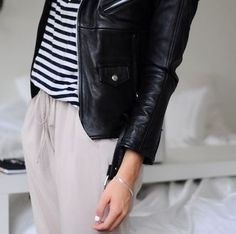 Minimal + Classic: soft blush with striped, leather jacket