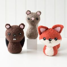 Backyard Critters 1 Felted Knitting Pattern - Knit Amigurumi Pattern - Beaver, Squirrel, Fox - Playroom Decor - Woodland - Forest Animals by CraftyAlienStudio on Etsy