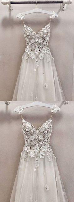 A line v neck lace tulle long prom dress, evening dress – trendty