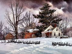 Fred Swan ~** Swan Painting, Painting Snow, Winter Painting, Winter Art, Winter Landscape, Landscape Art, Landscape Paintings, Farm Pictures, Winter Pictures