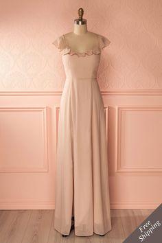 Robe de soirée à col volant beige - Beige frill neckline gown