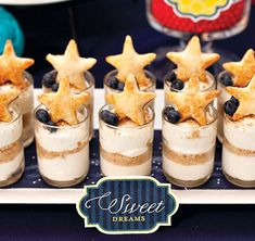 """Cheesecake shooters--from a """"Goodnight Moon"""" themed baby shower. Adorable!"""