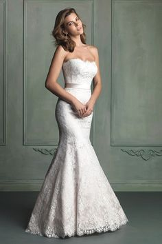 2014 Strapless Mermaid/Trumpet Wedding Dress Lace Bodice With Sash USD 249.99 EPPQGX2XF1 - ElleProm.com