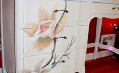 this is my hand painted blossom desk, painted furniture
