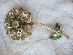 Vintage Large Weiss Rhinestone Flower ~ Champagne & Green