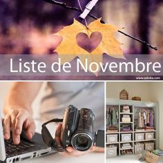 Liste à faire en novembre pour rester organisé. retrouver toutes mes listes mensuelles gratuites sur www.zalinka.com