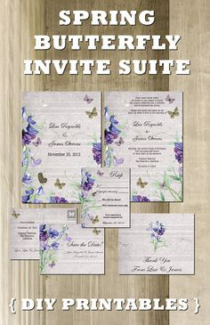 Spring Butterfly Wedding Stationery Set (Stunning Invitation, Save the Date, Thank You Card Printable Suite) Lavender, Purple, Green & White