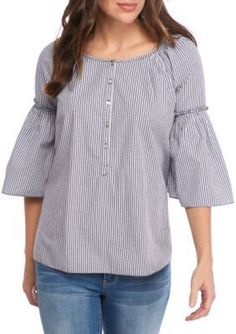 Sophie Max Mini Check Ruffle Sleeve Shirting Top