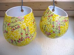 Materials: Asker hanging containers, pretty Japanese paper, Mod Podge, paint brushDescription: Once upon a time these containers looked nice and white. However,