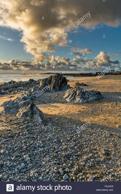 Download this stock image: Sunset at Rhosneigr, Anglesey, North Wales, UK. Taken on 12th October 2015. - F4JHC5 from Alamy's library of millions of high resolution stock photos, illustrations and vectors.